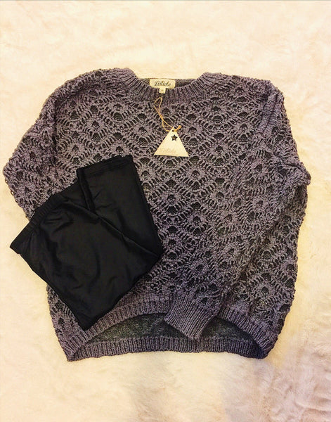 Double Knit Crochet Sweater-Charcoal