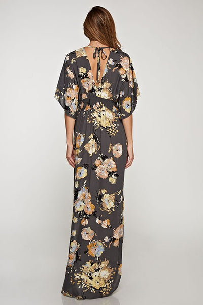 Lovestitch Charcoal Floral Maxi Dress