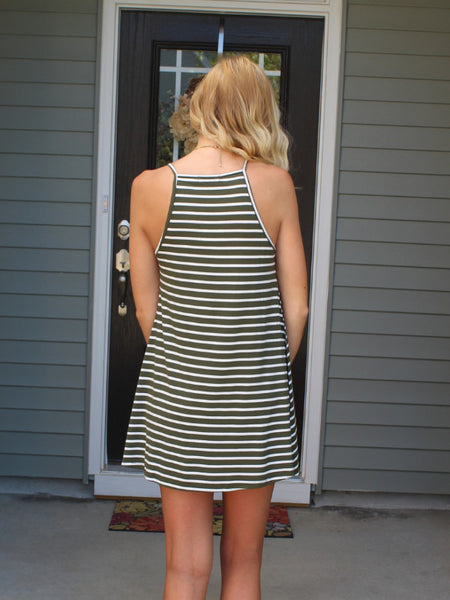 Olive Stripe Tank Dress