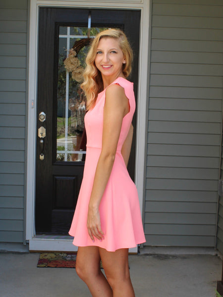 Little Details Scalloped Dress-Neon Pink