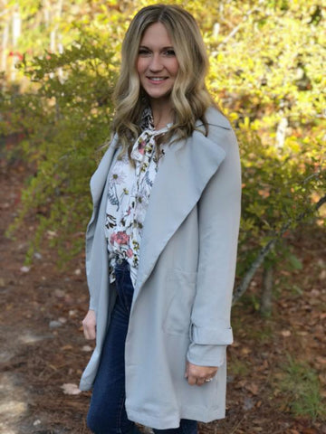 Grey Lightweight Trench Jacket