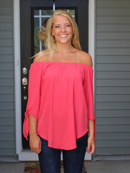 Coral Off The Shoulder Blouse