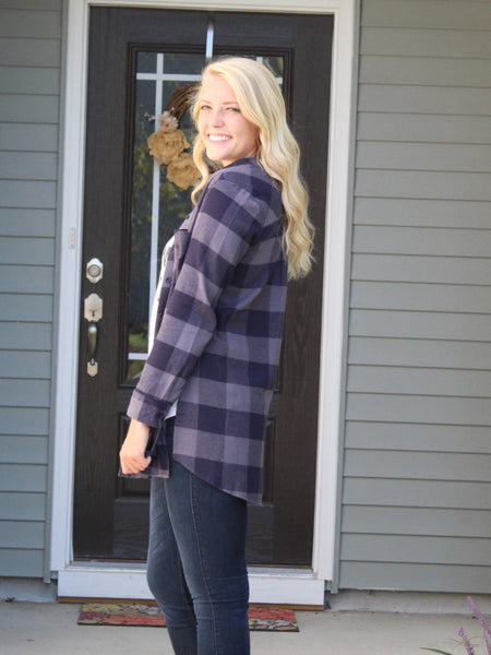 Boyfriend Flannel Top- Navy/Grey