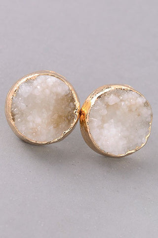 Ivory Druzy Stud Earrings
