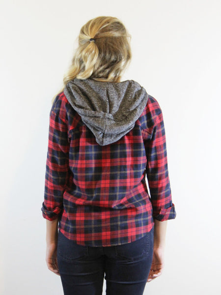 Keep It Casual Plaid Hooded Top