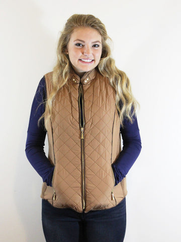 Faux Shearing Lined Vest-Camel