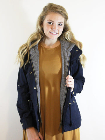 Layered Up Jacket-Navy