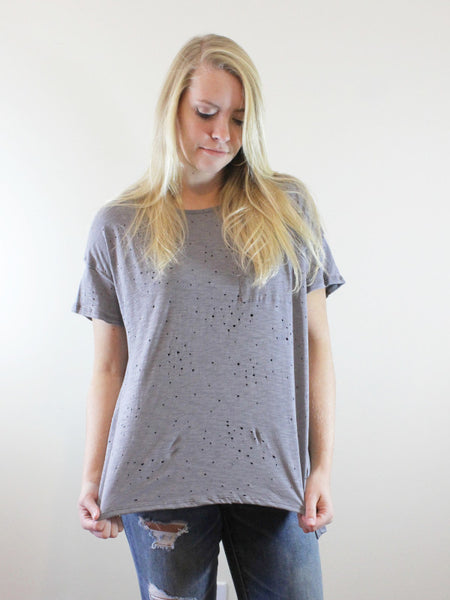 Grey Distressed Top