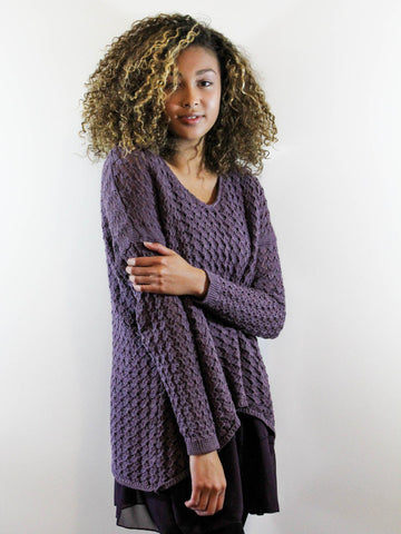 Mixed Media Sweater- Purple