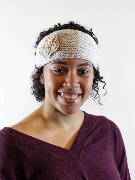 Ivory Crochet Flower Headwrap