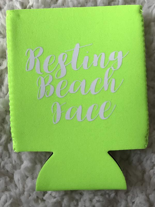 Resting Beach Face Koozie- Neon Green