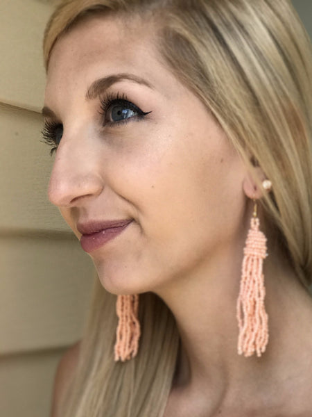 Beaded Tassel Earrings-Pink