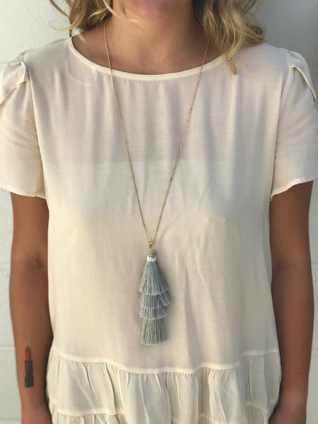 Sadie Necklace-Grey