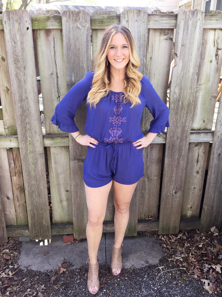 Navy Embroidered Romper