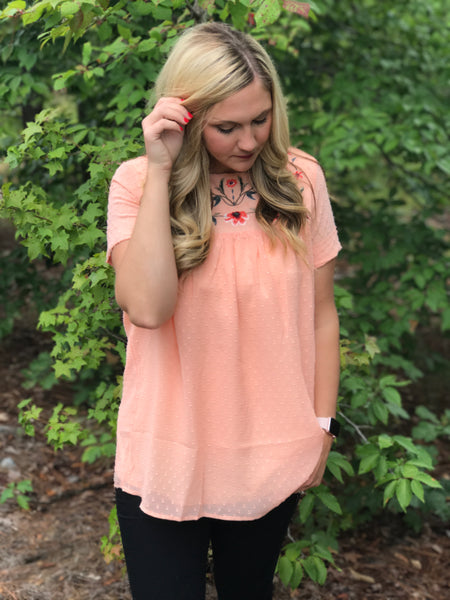 Peach Swiss Dot Blouse