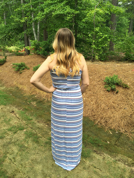 Retro Stripe Maxi Dress
