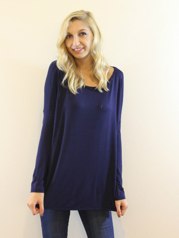 Bamboo Long Sleeve Piko Top-Navy