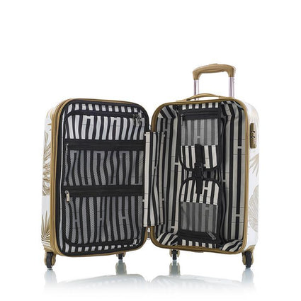 "Oasis White/Gold Leaf 21"" Fashion Spinner Carry-on"