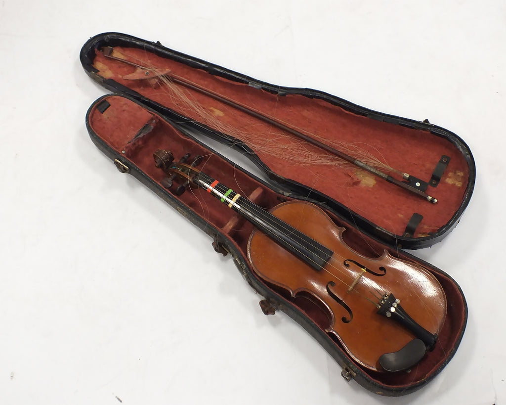 Unlabelled 1/2 size well flamed antique violin, presumably German