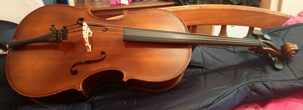Vintage 1/4 size cello, unbranded, quite nice.  New bridge and Prelude strings.