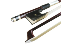 Carbon fibre violin bow with pernambuco veneer