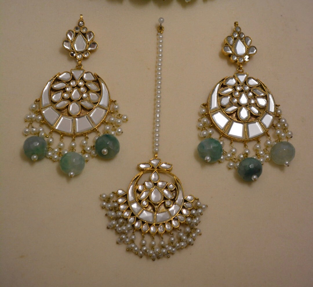 LASHEEN earrings and tikka set.