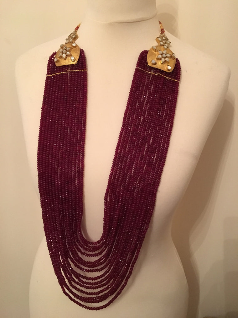 Multilayer brazilian ruby necklace