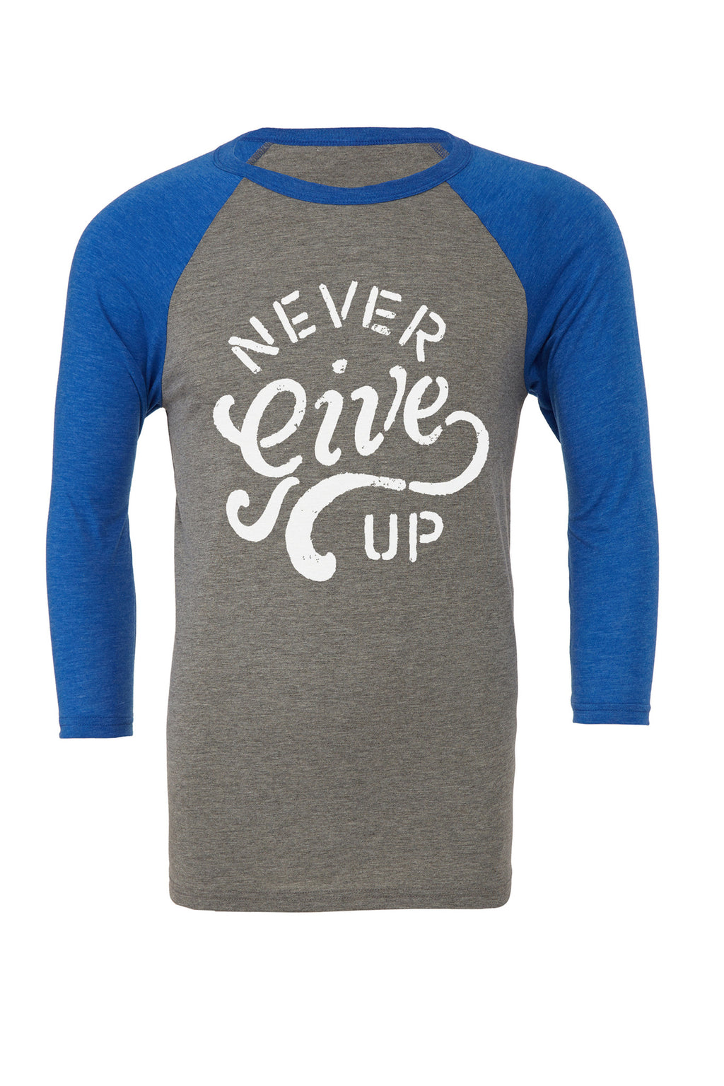 Never Give Up Baseball Blue & Grey