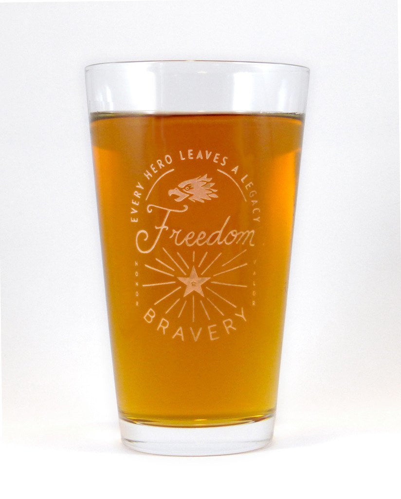 Every Hero Leaves a Legacy Engraved 16 oz. Glasses