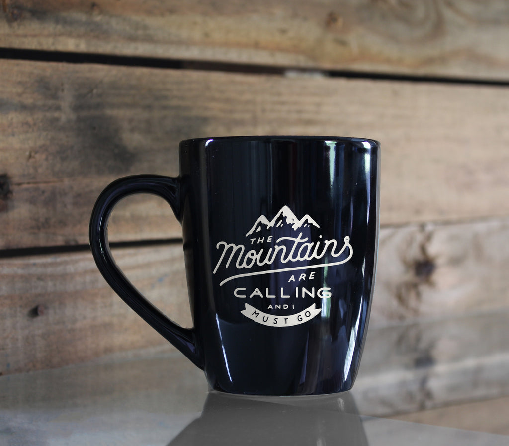 The Mountains Are Calling Black Engraved 11 oz. Mug