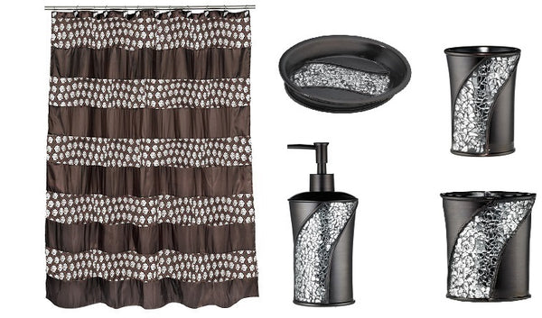 Popular Bath 5 Piece Sinatra Bronze Shower Curtain and Resin Bath Accessory Set