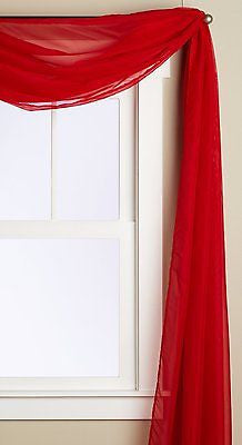 "SHEER VOILE 216"" WINDOW SCARF SWAG TOPPER RED"
