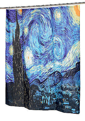 Starry Night Fabric Shower Curtain by Vincent Van Gogh