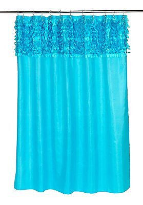 JASMINE FABRIC SHOWER CURTAIN WITH UNIQUED FEATHERED LOOK VALANCE