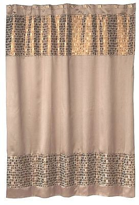 Popular Bath Mosaic Stone Bronze Fabric Shower Curtain With FREE Shower Liner