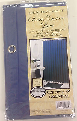 VINYL SHOWER LINER WITH MAGNETS and GROMMETS NAVY BLUE