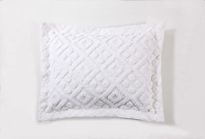 DIAMOND TUFTED CHENILLE PILLOW SHAM, 100% COTTON