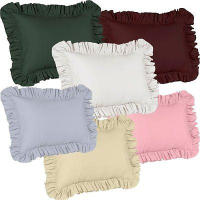 SOLID COLOR RUFFLED PILLOW SHAM IVORY BEIGE