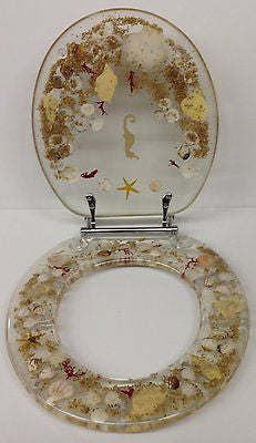 JEWEL SHELL SEASHELL AND SEAHORSE RESIN TOILET SEAT, CHROME HINGES ELONGATED