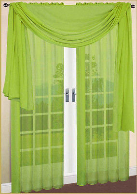 "SHEER VOILE 216"" WINDOW SCARF LIME GREEN"