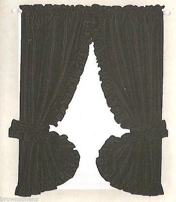"RUFFLED DOBBY DOT WINDOW CURTAIN & TIEBACKS 72"" WIDE X 54"" LONG"