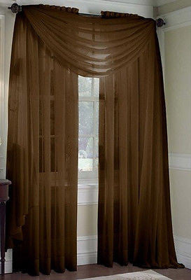 "SET OF 2 SHEER VOILE CURTAINS 84"" LONG BROWN"