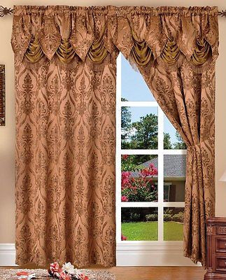 2 PENELOPIE CURTAIN PANELS WITH ATTACHED AUSTRIAN VALANCE 84 inches long window