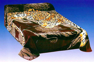 FAUX MINK FUR REVERSIBLE ANIMAL PRINT BLANKET, FULL OR QUEEN SIZE