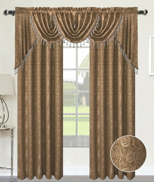 ANGELINA DAMASK 7 PIECE CURTAIN, BEADED AUSTRIAN VALANCES AND SWAG SET