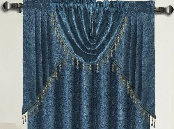 ANGELINA DAMASK TEXTURED CURTAINS, BLUE