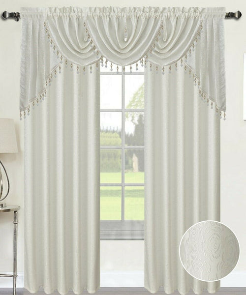 Angelina Rose Flower Jacquard Rod Pocket Curtains