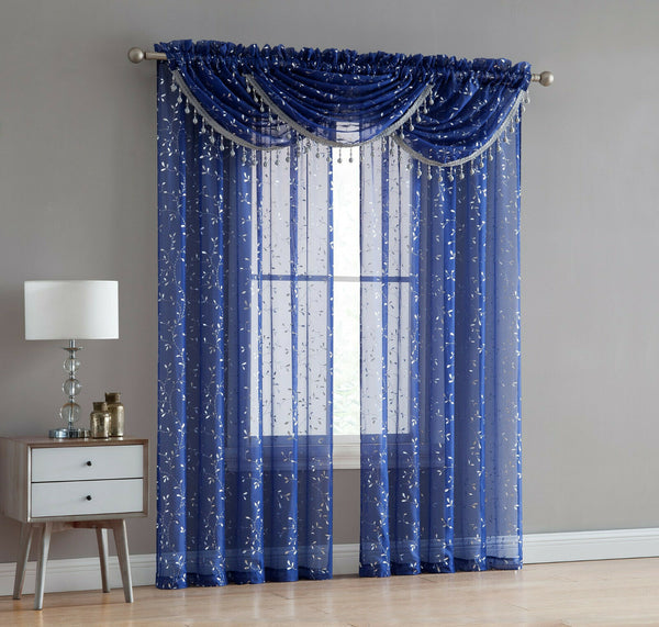 ADELINE 5 PIECE SHEER CURTAIN SET WITH BEADED AUSTRIAN VALANCES, FOIL METALLIC