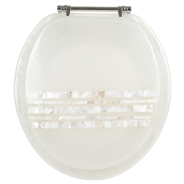 MOTHER OF PEARL RESIN TOILET SEAT, STANDARD ROUND