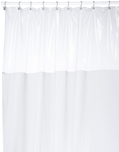 Vinyl Shower Curtain with Clear Window at Top, White